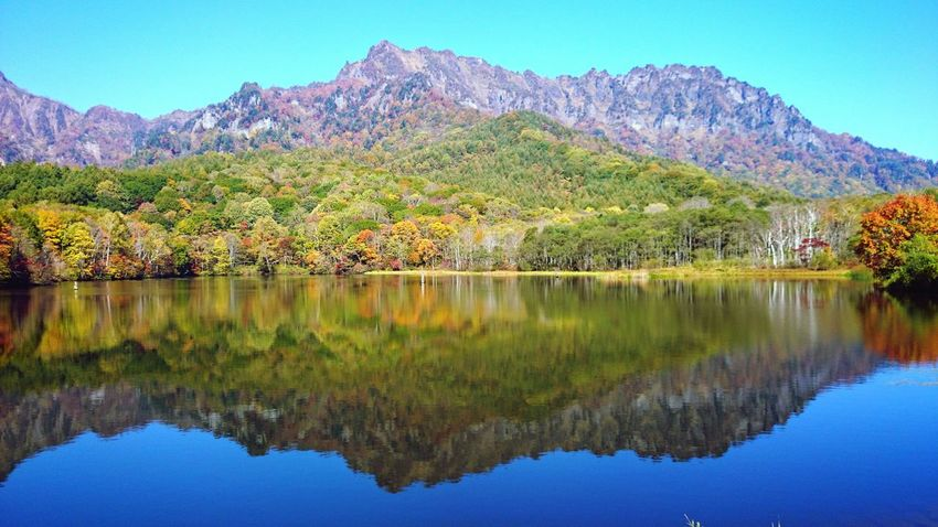 鏡池 日本 長野県 戸隠 山 鏡池 反射 紅葉 風景 Japan Mountain Autumn Autumn Leaves Reflection Pond Landscape Beautiful Days Mountains