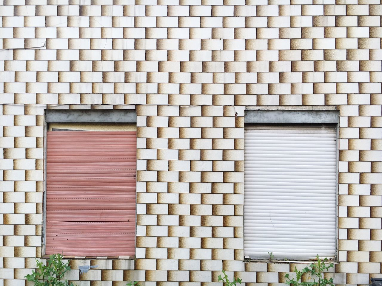 Closed Window Shutters On Patterned Wall