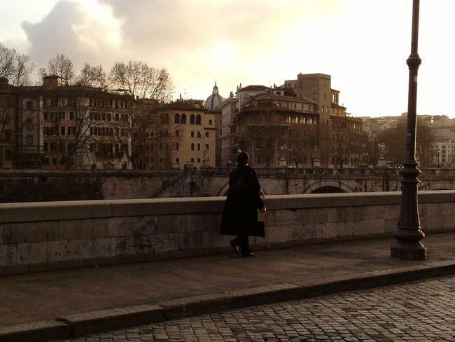 Rome Italy Riverside Woman Walking Atmosphere Old City Building Cityscape Traveling Trip Discover The World Like A Painting Golden Hour Magic Light