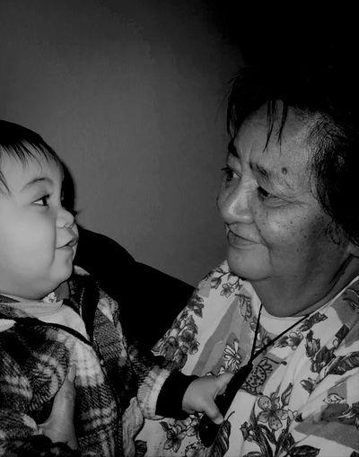 Grandma And Grandson Blackandwhite Enjoying Life Te Rongopai & Nanny Jan Ngaira