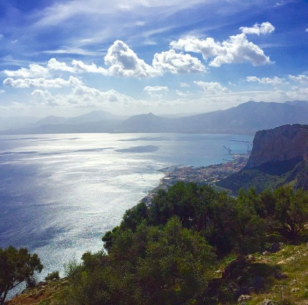 Sea Outdoors Nature No People Scenics Horizon Over Water Beauty In Nature Landscape Mountain Water Sky Day Travel Destinations Italy Blue Travel Tourism Betterlandscapes Multi Colored Palermo, Italy Nature City Beauty In Nature