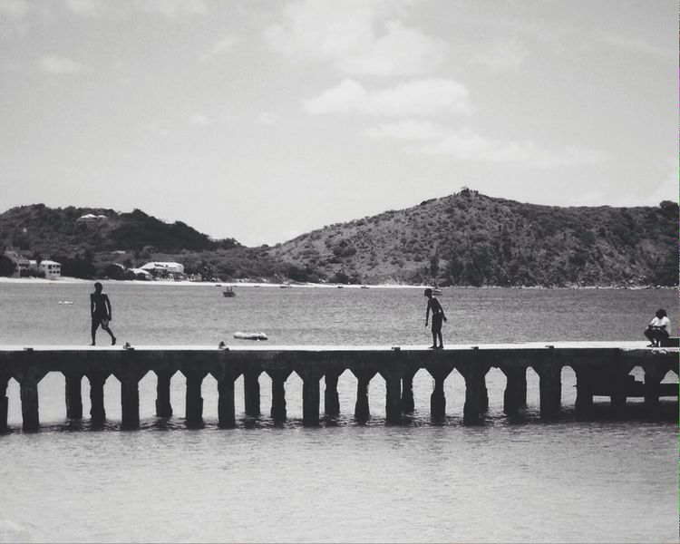 Playing on the dock Blackandwhite Costa Rica RePicture Travel Kids Being Kids IPS2015BW