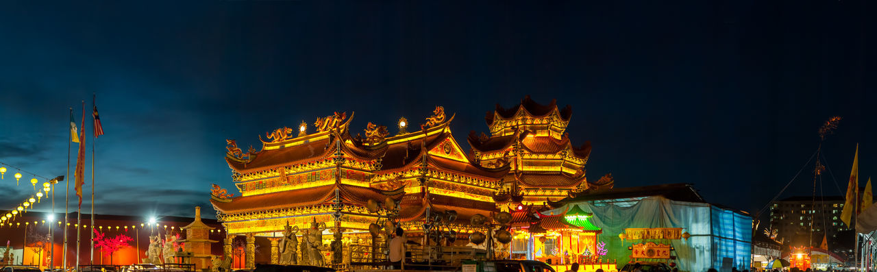 Penang Nine Emperor God Temple Night Building Exterior Illuminated Architecture Built Structure Sky Travel Destinations Building Nature City Low Angle View Outdoors Religion No People Travel Arts Culture And Entertainment Dusk Place Of Worship Festival
