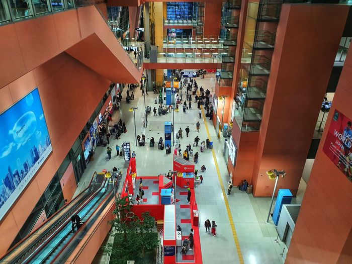 High angle view of people walking in shopping mall