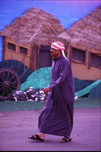 Arab Outfeet Man Single Simple Composition Fake Village Walker Harmonical Colours Leaf Roof Eye4photography