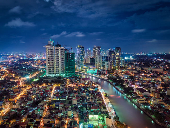 Blue Hour Cityscape Mandaluyong City Pasig River Philippines Architecture City Cityscape Illuminated Travel Destinations