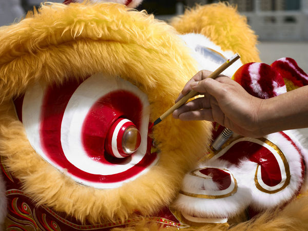opeinng ceremony on chinese lion Celebration Gong Xi Fa Cai Good Luck Lion Dancers Lion Dance Performance Paint Brush Touch Traditional Culture Chinese New Year Costume Cultures Eye Festive Human Body Part Human Hand Lion Dance Opening Event Performance Religious  Special Occasion
