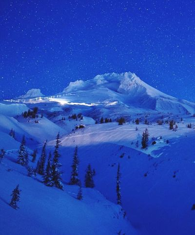 Mthoodnationalforest MtHoodOregon MtHood Snow Cold Temperature Winter Scenics - Nature Sky Night Mountain