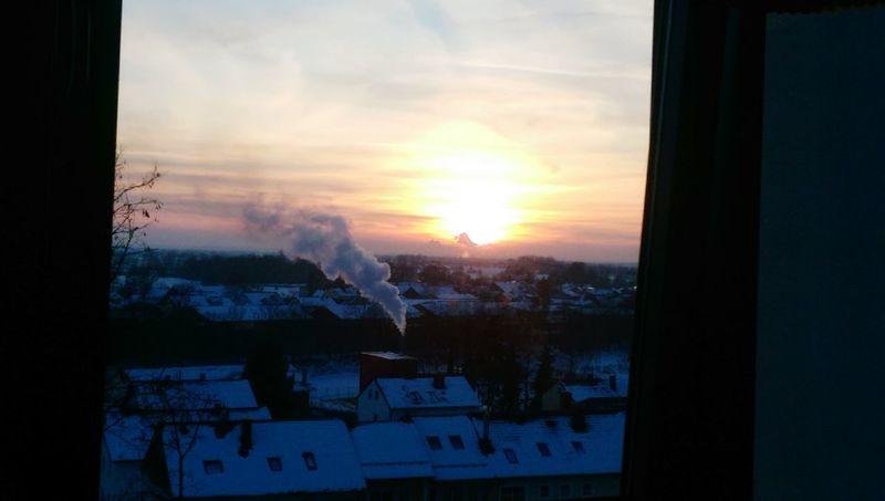 At Work Hospital Sonnenuntergang💕 Fabrik Wolkenfabrik Blauer Himmel