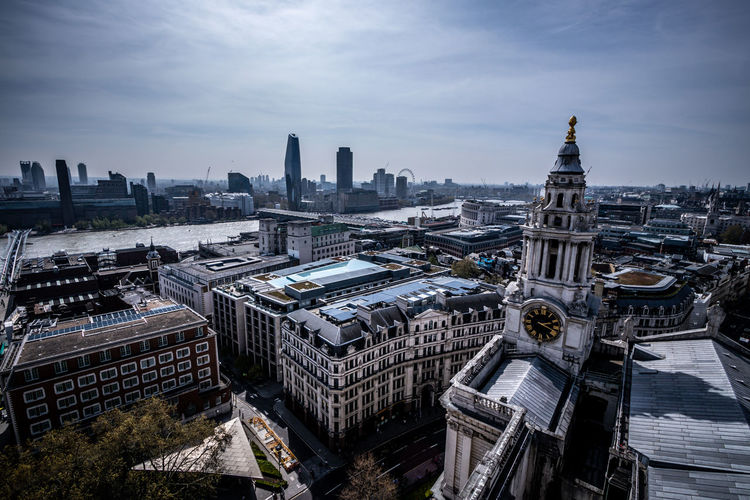 The view from the Stone Gallery of St Paul's Cathedral, London, April 2019 The Shard London The Walkie Talkie, London Cheesegrater Building London Eye One Blackfriars Building London St Paul's Cathedral Financial District  Skyscraper Outdoors Office Building Exterior Place Of Worship Cloud - Sky Tall - High No People Day High Angle View Nature Travel Tower Tourism Travel Destinations Building Cityscape Sky City Built Structure Architecture Building Exterior River Thames