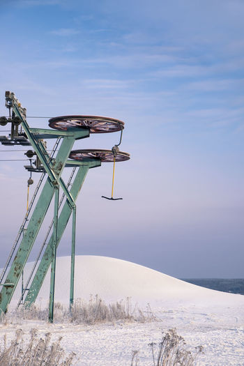Ski lift with landscape at evening in southern Finland Blue Cold Evening Evening Light Hill Landscape Lift Machine Nature No People Outdoors Resort Ski Lift Skiing ❄ Slope Snow Sport Sunset White Winter Wintry