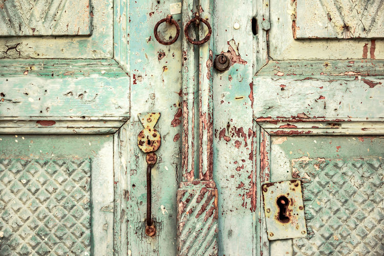 Locked by Anna Wacker Door Entrance Old Lock Safety Protection Security Closed Weathered No People Rusty Damaged Metal Close-up Full Frame Abandoned Deterioration Day Wood - Material Run-down Latch Outdoors Ruined Shabby Chic Textured  Wooden Pastel Colors Vintage Antique Close Up