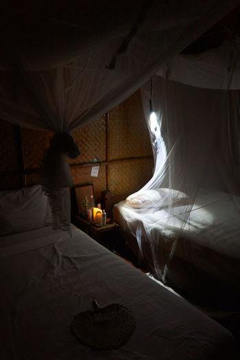 Bed Bedroom Curtain Illuminated Indoors  Moskito Net Night No People Thailand