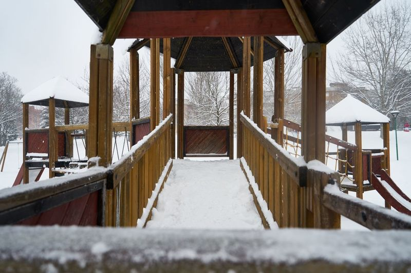 Built structure in snow