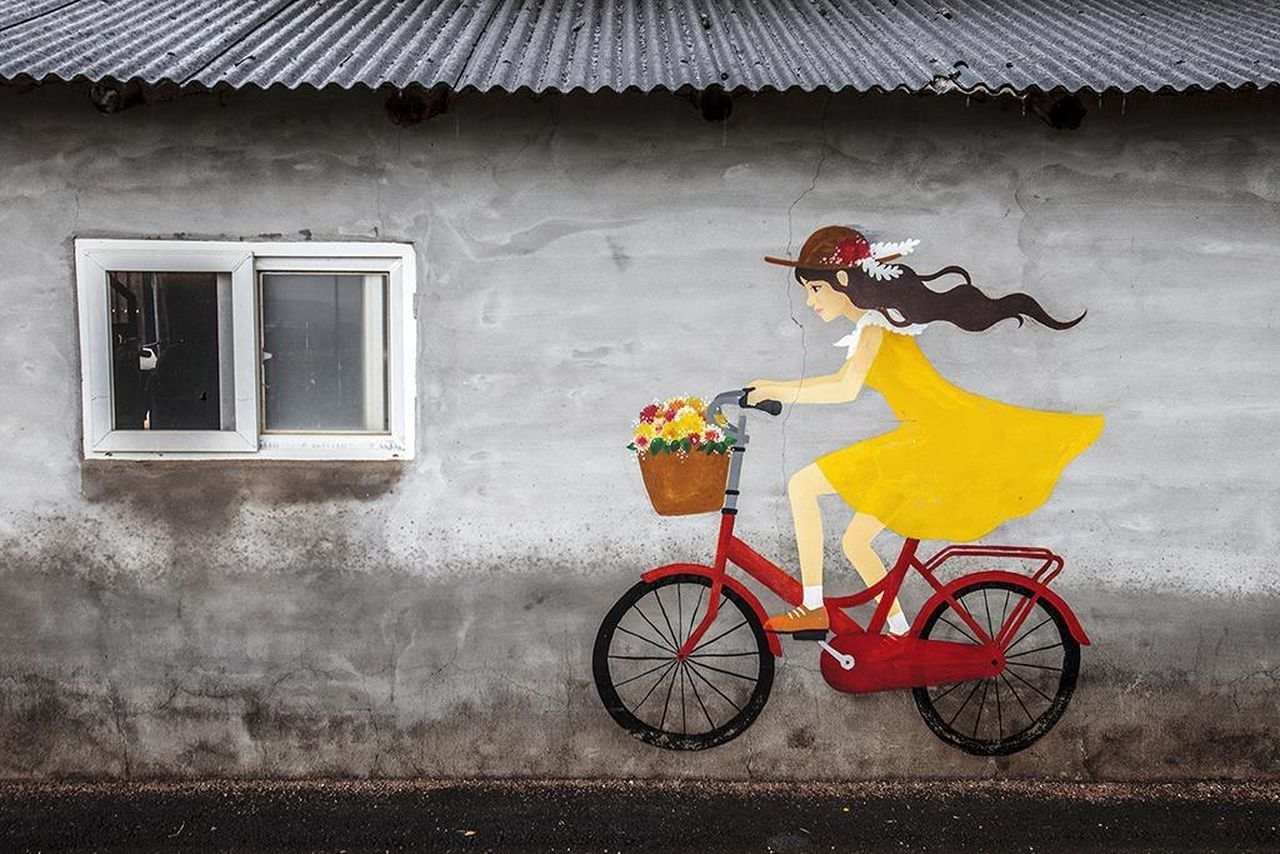 transportation, bicycle, mode of transport, land vehicle, built structure, window, building exterior, day, outdoors, architecture, yellow, no people, multi colored, flower, headwear