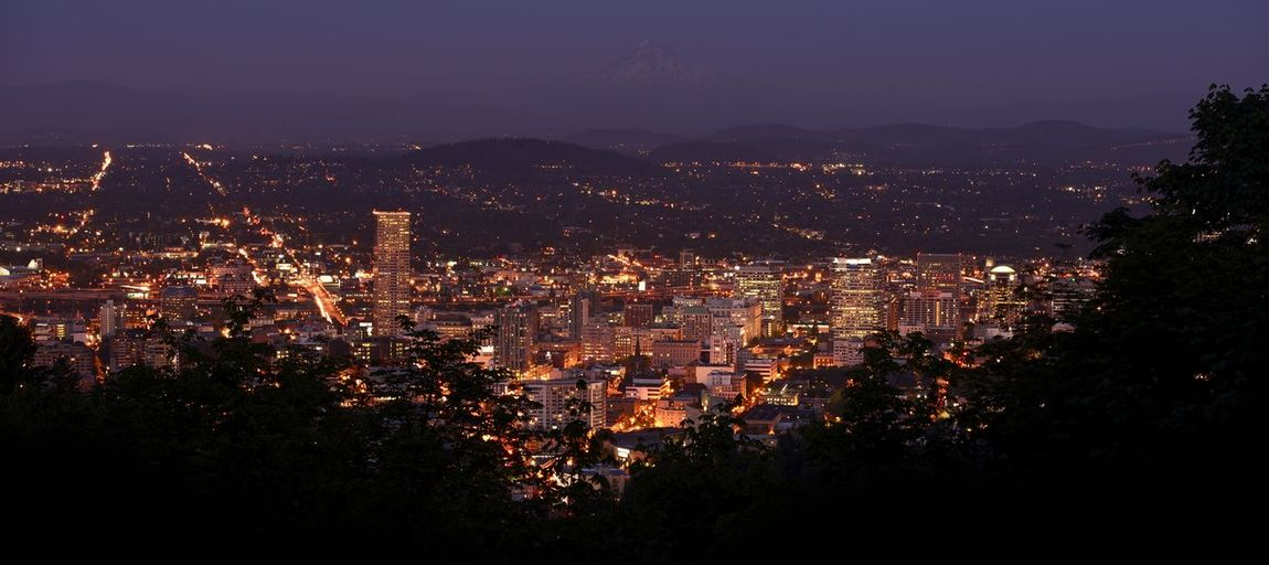 Portland Panoramic Photography at Night. Portland, Oregon City Overview and Mount Hood in the Background. Portland, Oregon, USA - High Resolution Panorama. Panorama Panoramic USA Architecture Building Building Exterior Built Structure City City Life Cityscape Crowd Crowded High Angle View Illuminated Location Modern Mountain Nature Night Outdoors Place Portland Oregon Residential District Sky Skyscraper