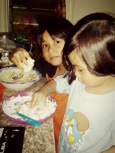 Bonding time with girls... making shrimp nugget.