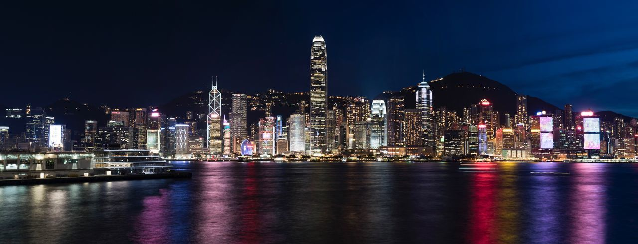 Illuminated Night Architecture Building Exterior Built Structure Skyscraper Travel Destinations City Modern HongKong Sky Cityscape Multi Colored Urban Skyline Long Exposure Slow Shutter Nightphotography Night Lights Harbour View Harbour Panorama Waterfront Outdoors No People Water EyeEmNewHere EyeEm Selects Neon Life