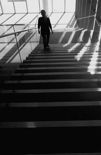 Steps High Angle View Staircase The Way Forward City Life Handrail  Railing Person Steps And Staircases Down People In Places Monochrome Photography Snap a Stranger The City Light