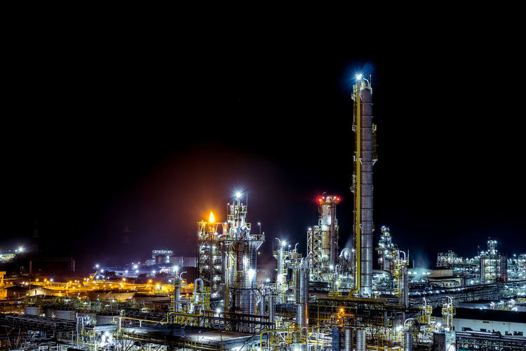 Long exposure of petrochemical plant view at night