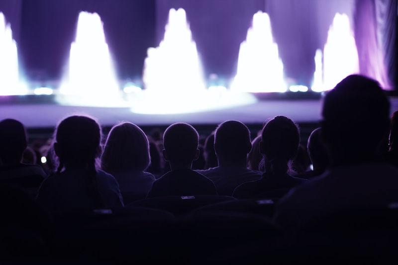 Audience in illuminated auditorium