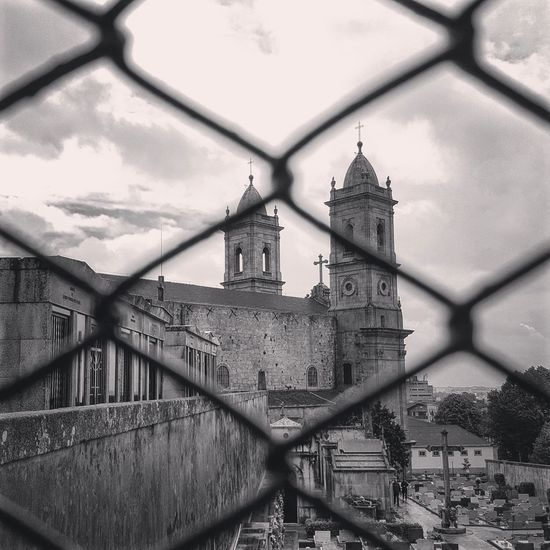 EyeEm Selects Architecture No People Sky Building Exterior Chainlink Fence City Church Architecture Church Tower Cemitery Bnw_captures Bnw Photography Porto Portugal 🇵🇹