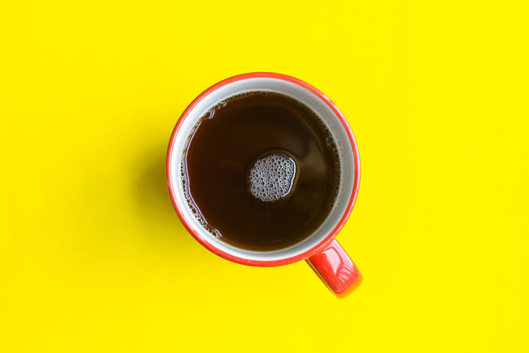 Drink Food And Drink Yellow Directly Above Cup Refreshment Still Life Colored Background Mug Studio Shot Coffee - Drink Yellow Background Coffee Indoors  Freshness Coffee Cup Close-up No People Cut Out High Angle View Tea Cup Crockery Non-alcoholic Beverage
