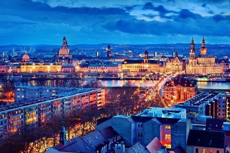 Drezden Germany Night City