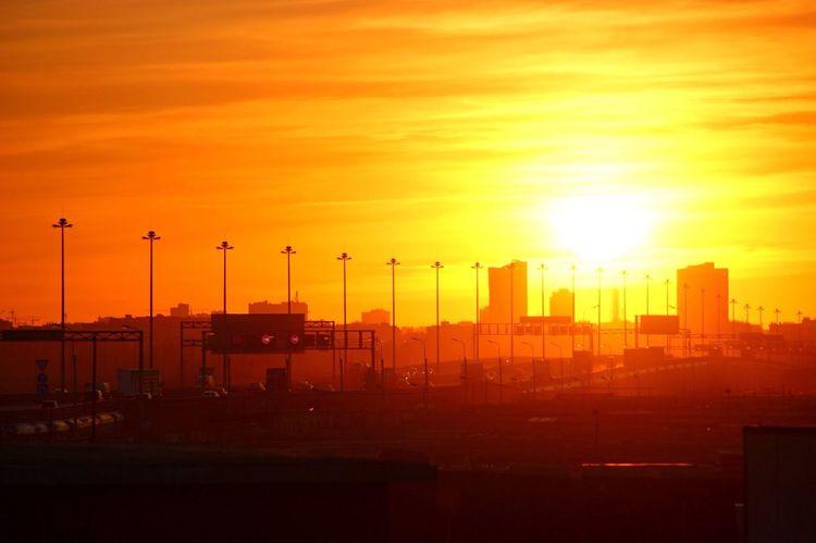 Sunset Orange Color Sun Sky City Cloud - Sky Sunlight Romantic Sky Cloud Bright City Life Atmospheric Mood Red Architecture