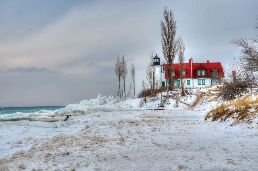 Architecture Beach Photography Building Exterior Built Structure Day Ice Covered Light Icy Bea Lake Michigan Lighthouse Northern Michigan Outdoors Point Betsie Lighthouse Sky Winter Beach Winter Wonderland