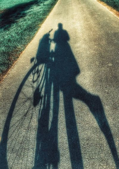 Cut And Paste Shadow Focus On Shadow Sunlight Bicycle Real People High Angle View Transportation Men Day Lifestyles Two People Road Outdoors Full Length Nature People Woman Female Girl Silhouette Silhouette_collection Bike Bicycle Bicycles