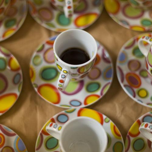 High angle view of tea cup on table