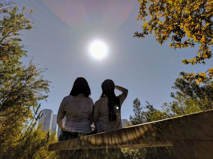 Two People Low Angle View Silhouette Sky People Day Tree Outdoors Togetherness Nature