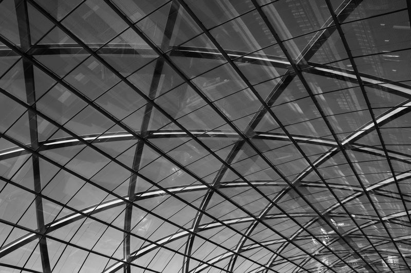 Pattern Architecture Built Structure Full Frame Low Angle View Ceiling Geometric Shape Backgrounds No People Indoors  Shape Glass - Material Modern Metal Transparent Day Architectural Feature Design Sunlight Sky Skylight Directly Below