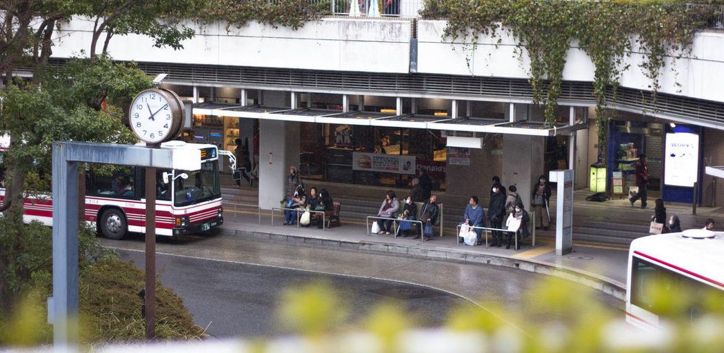 Japan Bus Bus Stop Day Large Group Of People Public Transportation Time Transportation
