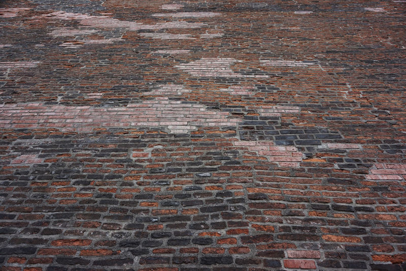 Directly below shot of brick wall