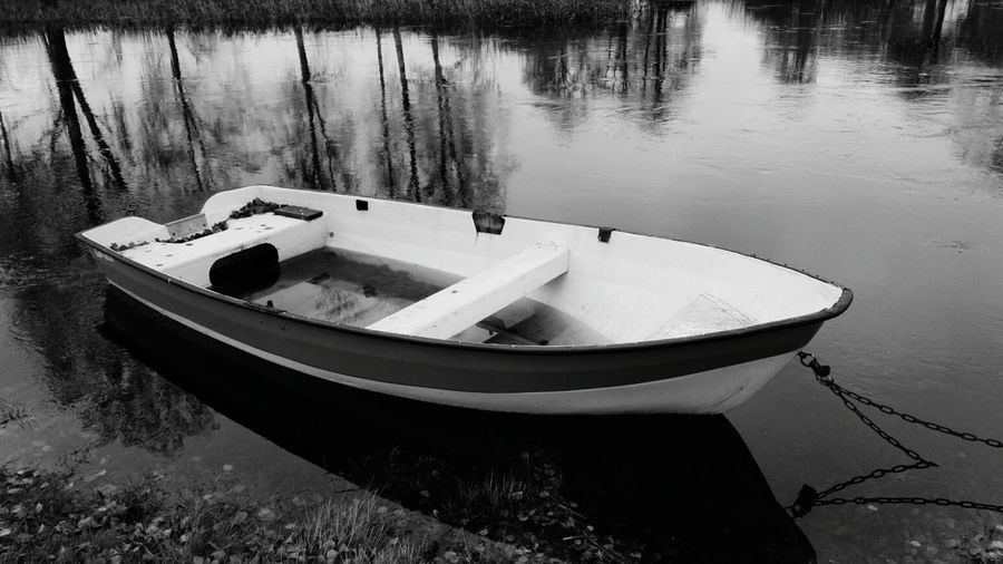 Black And White Friday Day No People Outdoors Close-up White Color Fragility Lake boat