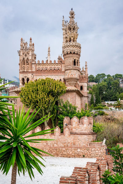 View of Colomares Castle. Castle dedicated to the explorer and navigator Christopher Columbus. Benalmadena town. Province of Malaga. Andalusia. Spain Andalucía Benalmádena, Malaga, Spain Byzantine Architecture Castle Christopher Columbus Cloud - Sky Colomares Castle Costa Del Sol Europe Exterior Gothic Architecture History Landmark Malaga Monument Monumental  Nobody Outdoors Palace Palm Trees Roman Architecture Sightseeing SPAIN Stone Travel Destinations