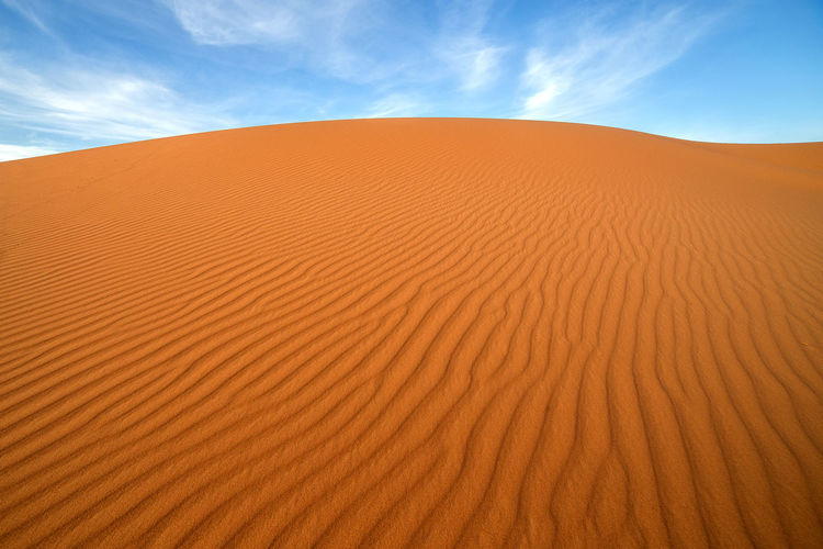 Sahara desert in the early morning. Africa Arid Climate Day Desert Landscape Morocco Nature No People Orange Color Outdoors S Sand Sand Dune Sky Wave Pattern