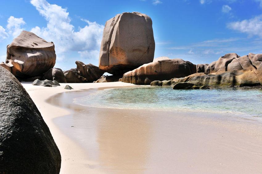Anse Marron with Giant Rock, Beach on Island La Digue, Seychelles