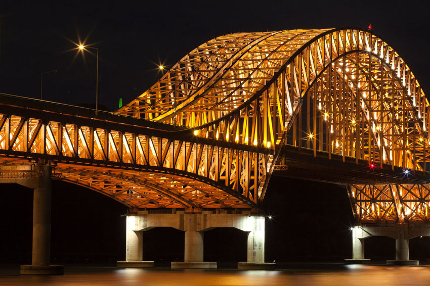 Arch Architectural Column Architectural Feature Architecture Banghwadaegyo Bridge Built Structure City Life Connection Electric Light Han River Hangang Park Illuminated In A Row Low Angle View Modern Night No People