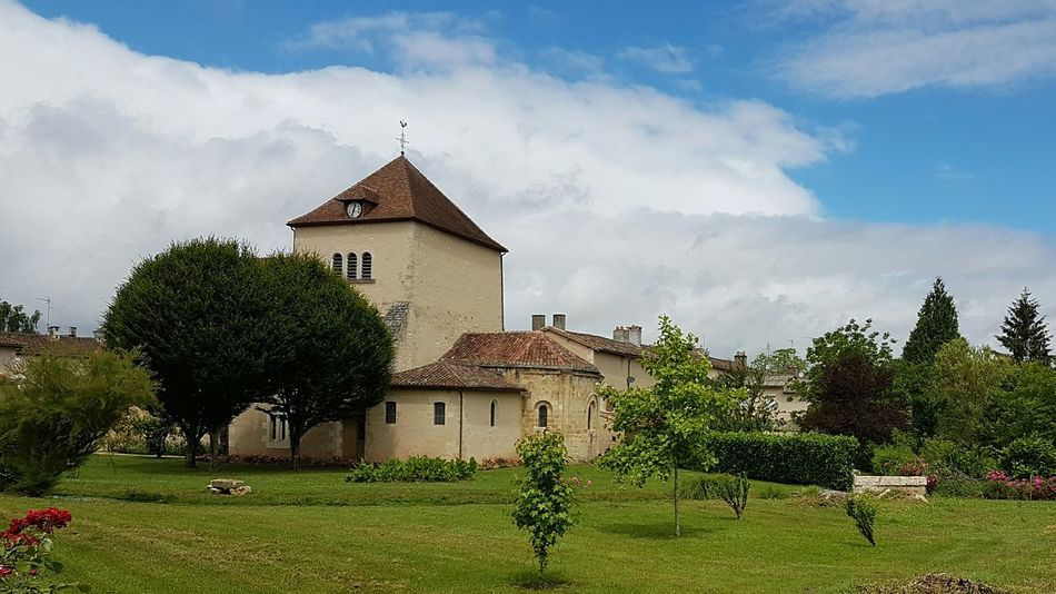 West France Sommiers Du Clain Tree Cloud - Sky Architecture Building Exterior Grass History House Sky Outdoors Built Structure Tranquility Day No People Travel Destinations Rural Scene Nature church Village