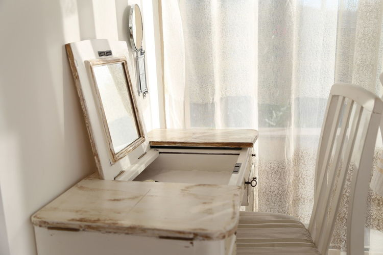 Provencal style dressing table Chair Provence Close-up Curtain Day Dressing Home Interior Make Up Table No People Vanity Window