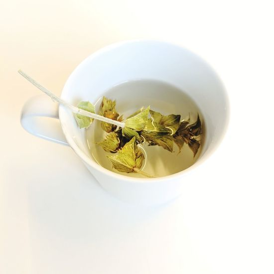Tea White Background Healthcare And Medicine High Angle View Studio Shot Close-up Teabag Herbal Tea Tea Cup