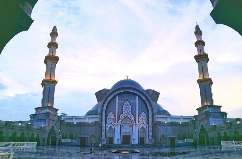 Religion Architecture Travel Destinations Dome Blue Cloud - Sky Statue Marble Mosque Malaysia Kuala Lumpur Masjid masjid wilayah persekutuan Istanbul Islam Dome And Minarets Masjid Wilayah Persekutuan Minarets