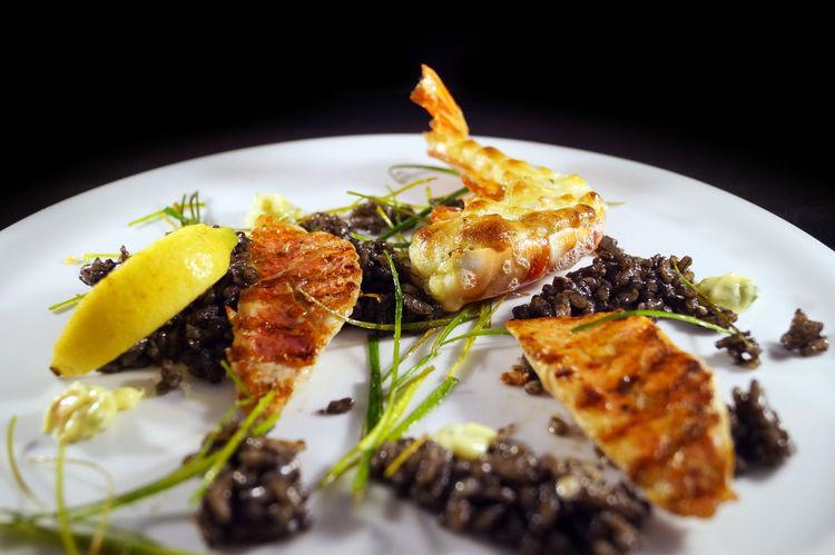 Gambas Gratin Leek Shrimp Black Black Rice Close-up Fish Fish Dish Food Food And Drink Freshness Gamba Indoors  No People Plate