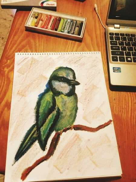 Bird Green Oilpainting Painting green bird Sketch
