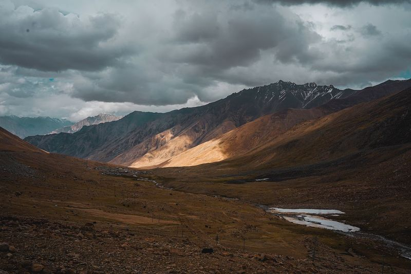 Where the Light is. Kashmir leh ladakh incredible india Pictures Of India ladakh landscape Ladakh golden hour stayandwander EyeEmN EyeEmNewHere Kashmir Leh Ladakh Incredible India Pictures Of India Ladakh Landscape Ladakh Golden Hour Stayandwander Trek Mountainroad Landscape_Collection EyeEm Selects Indiapictures Cloud - Sky Sky Environment Mountain Scenics - Nature Landscape Beauty In Nature Travel Destinations Mountain Range Overcast Non-urban Scene No People Tranquil Scene