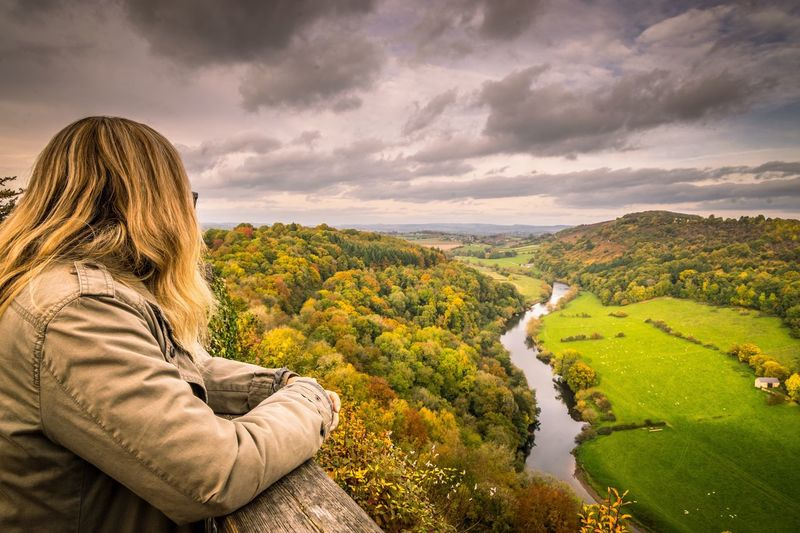 Quiet reflection Beauty In Nature Nature Sky Scenics Looking At View Cloud - Sky One Person Rear View Landscape Women Outdoors Leisure Activity Real People One Woman Only Tree Day Only Women Mountain Water Adult My Year My View