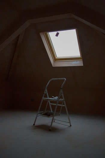 Absence Architecture Building Built Structure Chair Day Domestic Room Empty Flooring Home Interior Indoors  Ladder Low Angle View Minimal No People Old Seat Stage Table Window Wood - Material